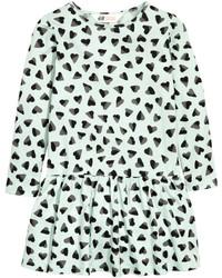 H&M Jersey Dress With Flounced Hem Light Beige Melangecat Kids