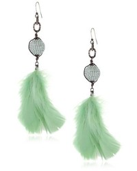 Atelier Deanna Hamro Haute Bohemian Mint Alabaster Pave Feather Earrings