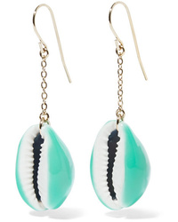 Aurelie Bidermann Gold Plated Shell And Enamel Earrings