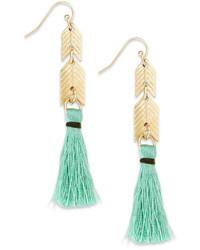 Bar III Gold Tone Mint Tassel Drop Earrings