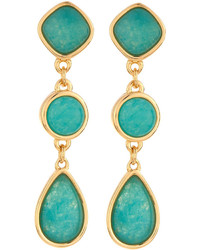 Nakamol Long Golden Triple Drop Agate Earrings Turquoise