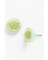 Moon and lola chelsea small personalized monogram stud earrings mint gold medium 61823