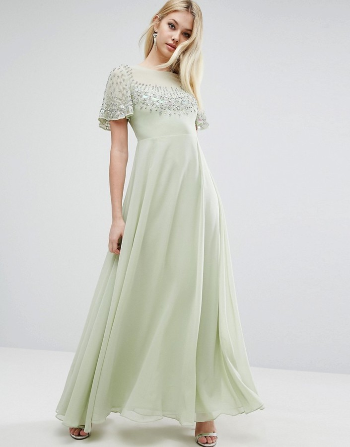 b024c96d13b ... Asos Pretty Embellished Flutter Sleeve Maxi Dress ...