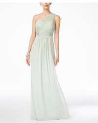 Adrianna Papell Embellished One Shoulder Gown
