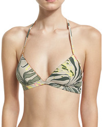 Vince Camuto Floral Print Swim Top Green Pattern