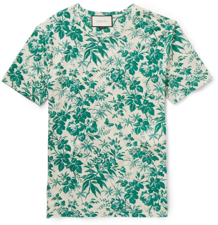 58dde8fe Gucci Slim Fit Floral Print Cotton T Shirt, $540 | MR PORTER ...