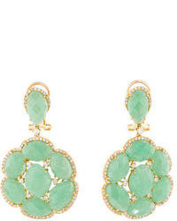 3020ctw Aventurine Quartz And Diamond Earrings