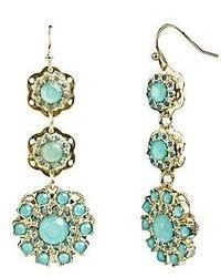 Love struck love struck gold tone mint green floral triple drop earrings medium 95935
