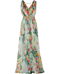 Floral print silk georgette gown medium 314385