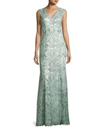 Sleeveless metallic floral lace gown mink gray medium 3750422