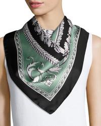 Circular floral foulard scarf green medium 3705601