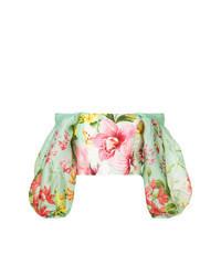 Mint Floral Short Sleeve Blouse