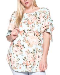 Mint Floral Cutout Sleeve Top Plus