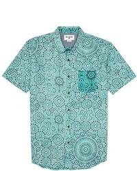 Mint Floral Short Sleeve Shirt