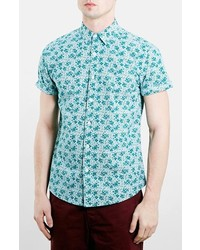 Slim fit short sleeve floral print oxford shirt medium 274827
