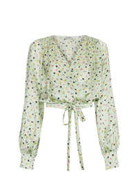 Floral print wrap silk blouse medium 7745846