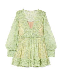 Stella McCartney Ruffled Floral Print Silk Crepon Mini Dress