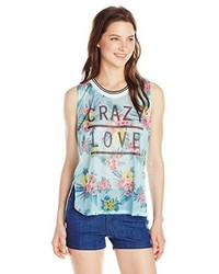 Almost famous juniors crazy love floral printed mesh front tank top medium 289988