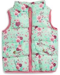 Pumpkin Patch Floral Print Puffer Vest