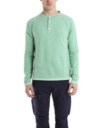 V::room Long Sleeve Raglan Henley In Mint Blue