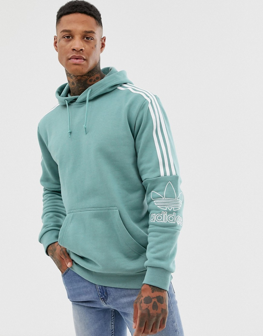 Hoodie With Shoulder 3 Stripes Green