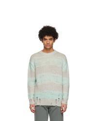 Acne Studios Green And Grey Block Stripe Sweater