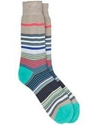 Paul Smith Fuel Striped Mid Calf Socks Grey