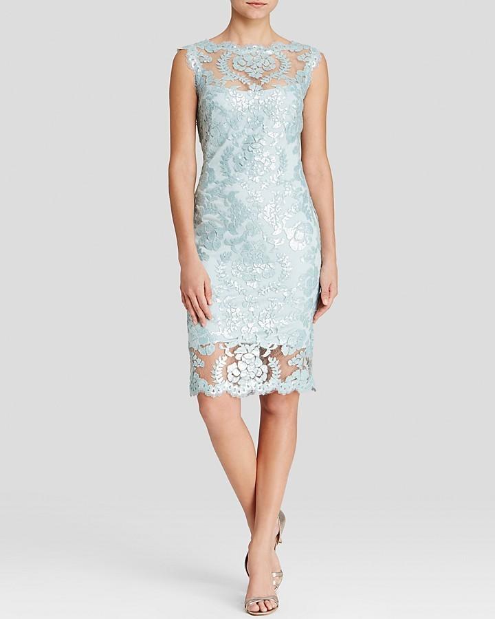 Tadashi Shoji Dress Sleeveless Illusion Neckline Sequin Lace Sheath ...