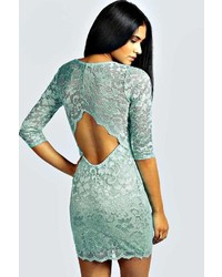Boohoo Nina Scallop Detail Open Back Lace Bodycon Dress