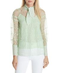 Mint Lace Long Sleeve Blouse