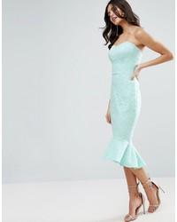 Asos Lace Bandeau Pephem Midi Dress