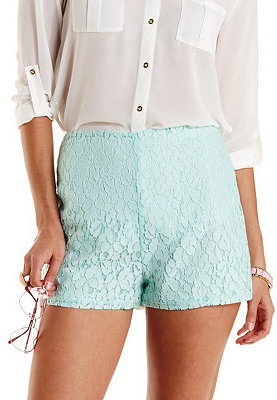 bd390d327d ... Charlotte Russe Lace High Waisted Shorts ...