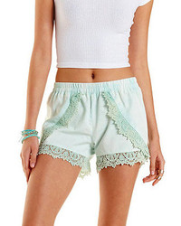 Charlotte Russe Lace Trim Chambray Tulip Shorts