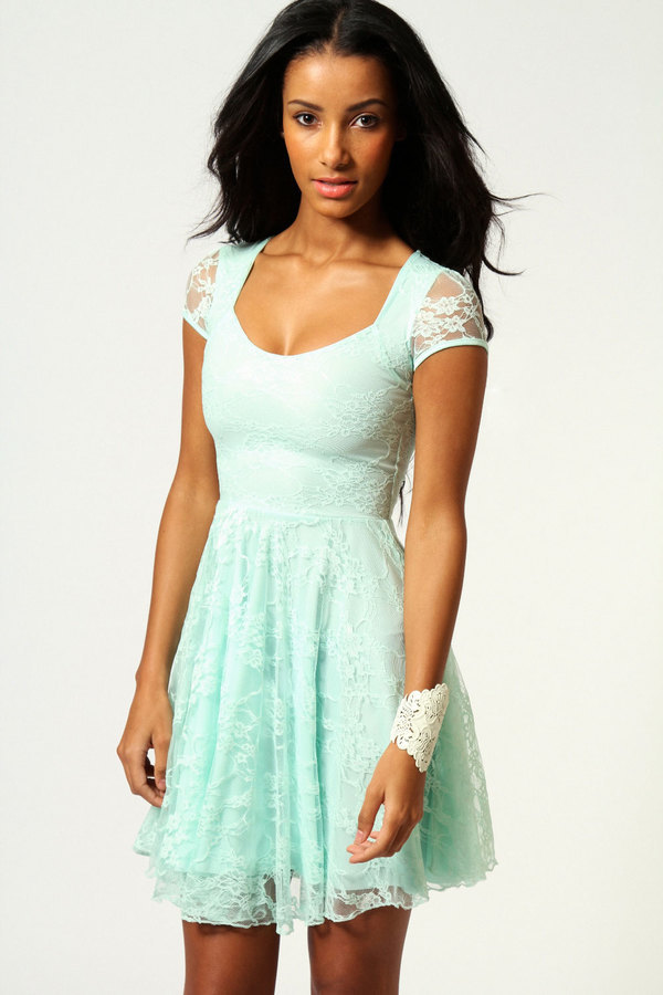 8966aa295e84 ... Boohoo Caroline Cap Sleeve Lace Skater Dress ...