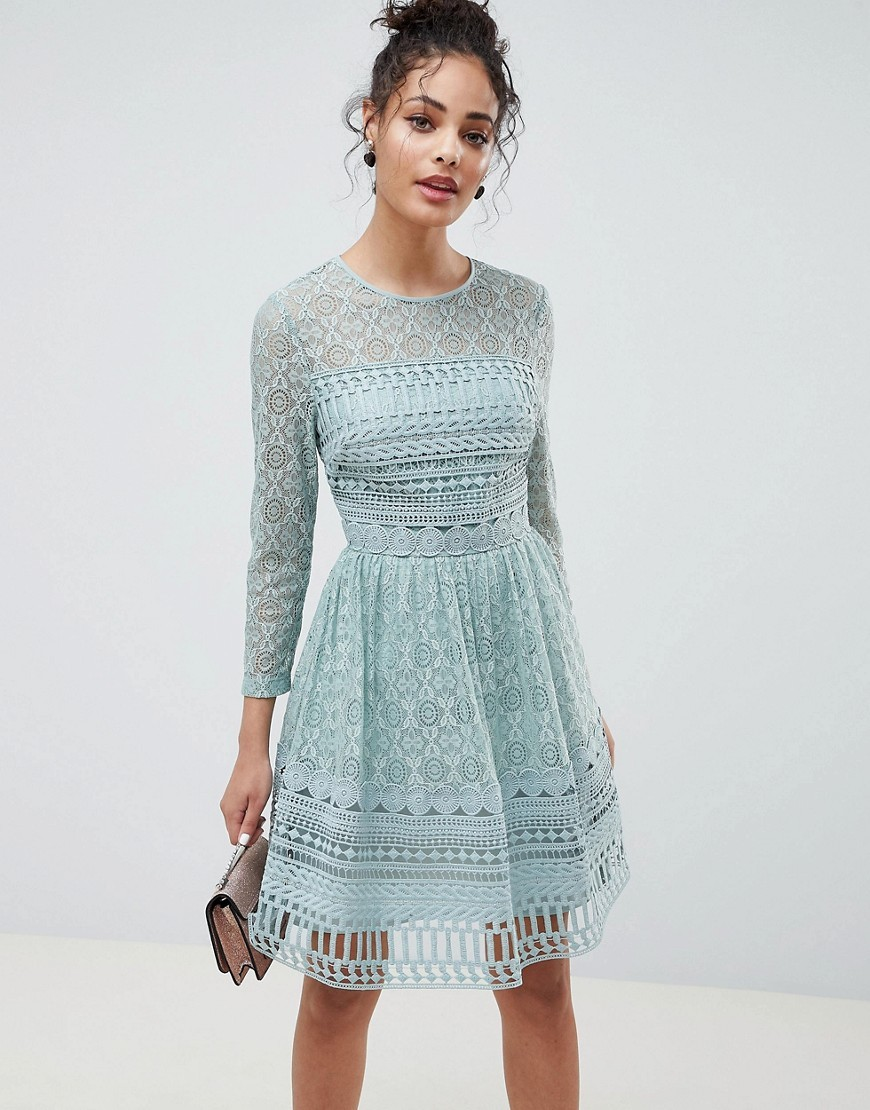 Premium Lace Mini Skater Dress With Long Sleeves