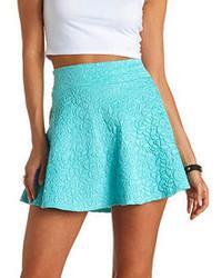 Charlotte Russe High Waisted Textured Skater Skirt