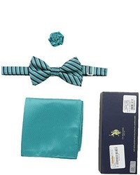U.S. Polo Assn. Striped Bow Tie Pocket Square And Lapel Pin Set