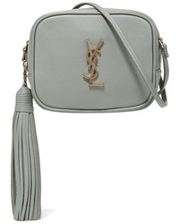 Saint Laurent Monogramme Blogger Leather Shoulder Bag Gray Green