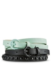 Mossimo Supply Co Black Studded And Solid Mint Belt Set Supply Cotm