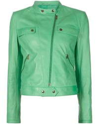 Tomas Maier Band Collar Biker Jacket