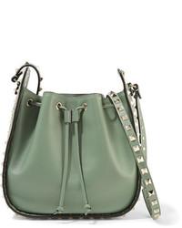 Valentino The Rockstud Leather Bucket Bag Mint
