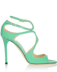 Mint Leather Heeled Sandals