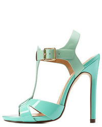 Charlotte Russe Delicious Texture Block T Strap Heels