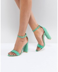 Glamorous Green Barely There Block Heeled Sandals Mf