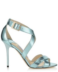 Jimmy Choo Lottie Etched Mirror Leather Sandals