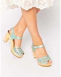 Swedish Hasbeens Mint Braided Sky High Heeled Sandals