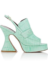 Sies Marjan Ellie Crocodile Stamped Leather Slingback Platform Sandals