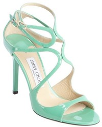 Jimmy Choo Teal Green Patent Leather Strappy Detail Lang Sandals