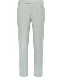 Richard James Green Slim Fit Wool Linen And Mohair Blend Suit Trousers