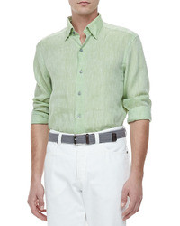 Linen sport shirt green medium 24853